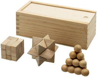 3 piece wooden brainteasers
